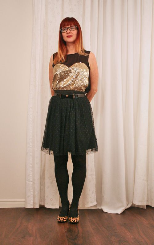 Anthropologie black tulle skirt gold sequin top