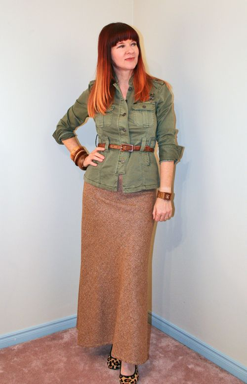 Brown tweed maxi skirt
