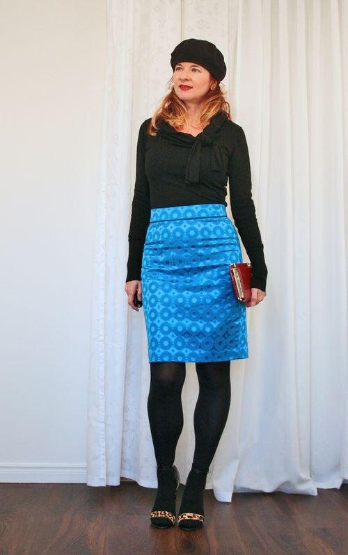 Anthropologie blue skirt black sweater