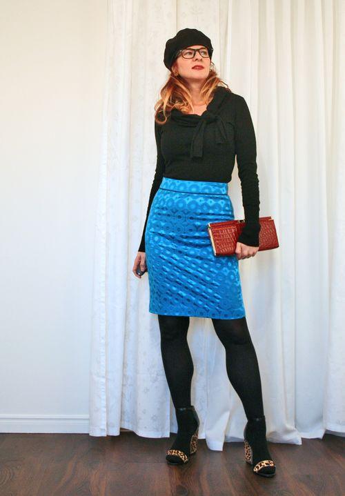 Black sweater blue skirt anthropologie