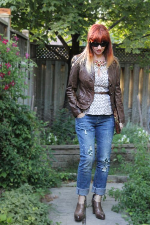 Brown leather jacket consignment store buy