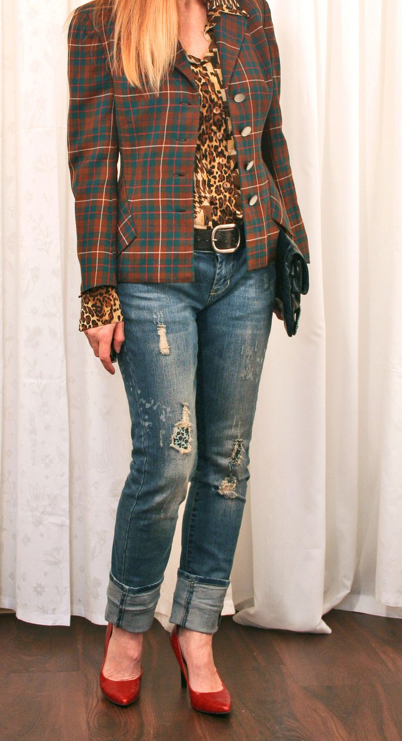 Pattern mixing plaid and leopard