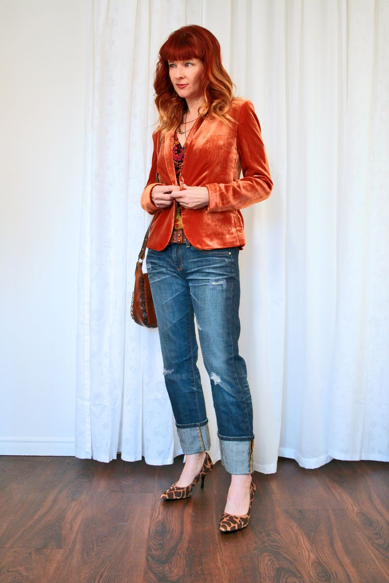 Leopard shoes jeans orange blazer