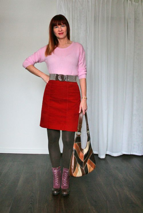 Joe fresh pink cashmere sweater anthropologie orange velvet skirt