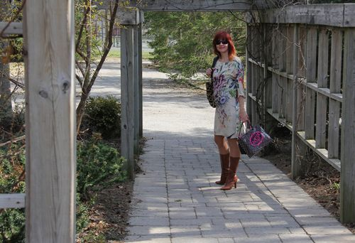 Floral zara dress and boots