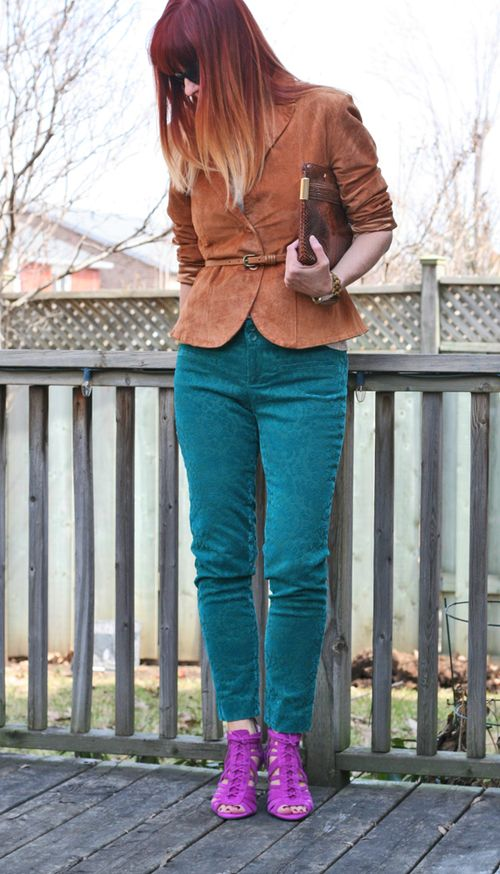 Brown suede jacket teal anthropologie pants magenta vince camuto heels