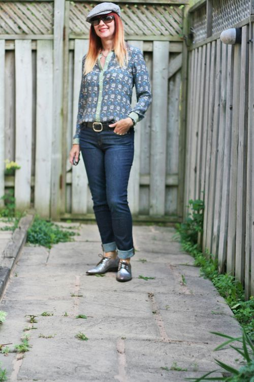 Anthropologie silver brogues silk patterned blouse joe fresh jbrand jeans suzanne carillo style files casual style women over 40