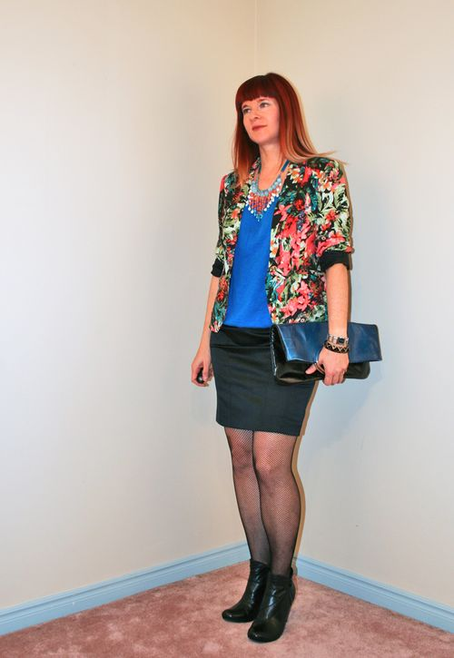 Floral blazer black skirt