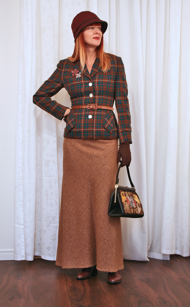 Ralph lauren vintage tweed maxi skirt