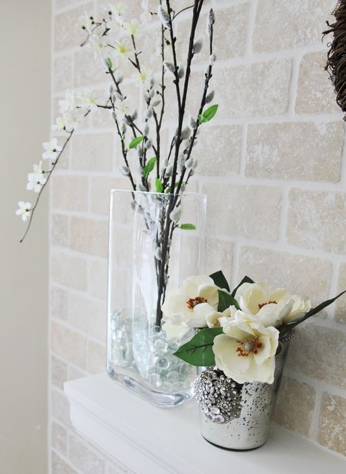 Floral fireplace mantle decoration