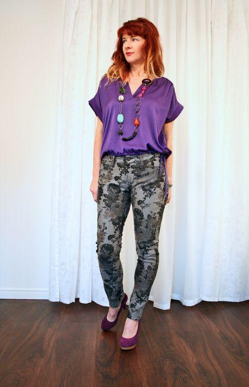 Floral mavi jeans BCBG purple top suzanne carillo