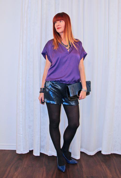 Purple top sequine shorts over 40 style suzanne carillo