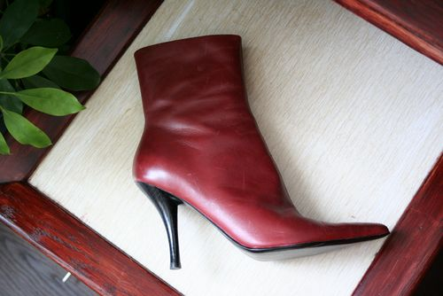 Red leather bootie nine west