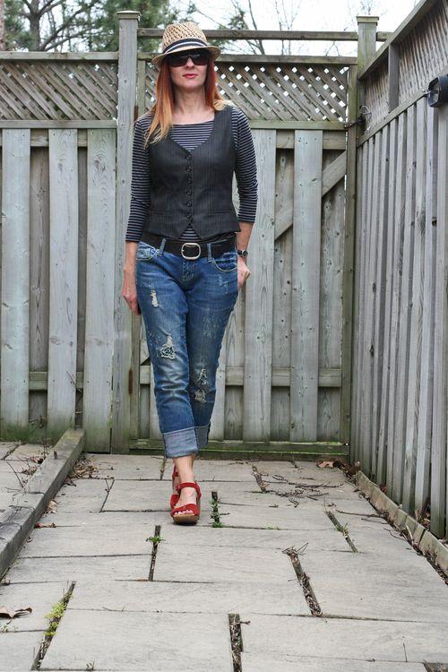 Striped tee mens vest distressed jeans sandals