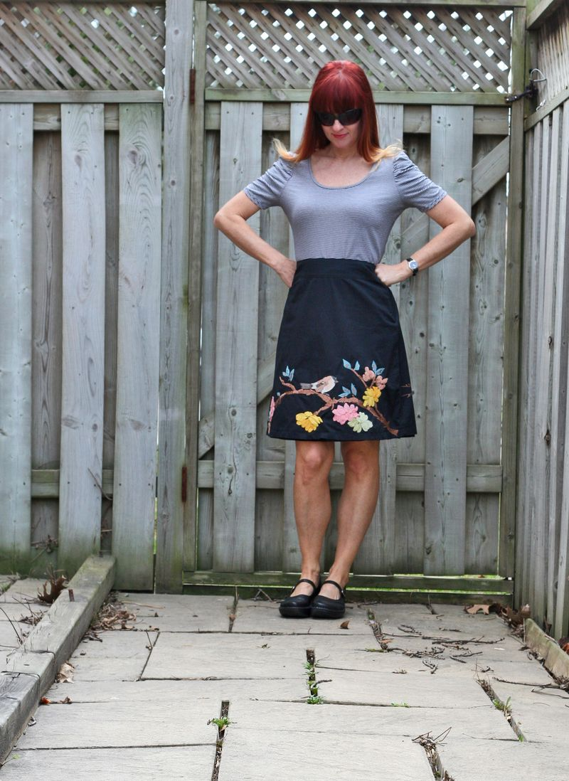 Simple summer outfit embroidered bird a-line skirt anthropologie