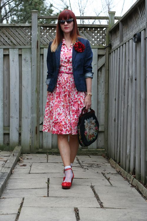 1950's pink and red vintage dress