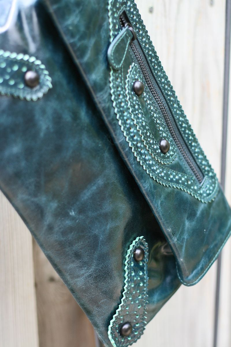 Danier teal leather clutch suzanne carillo style files