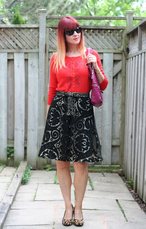 Black vintage lace a-line skirt leopard heels orange cardigan suzanne carillo style files how to wear vintage