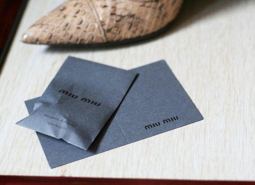 Miu miu heel lifts and authetification card