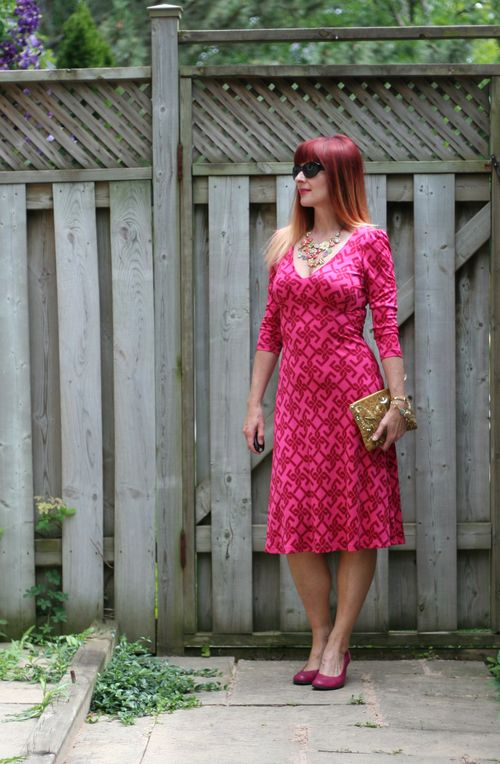 Pink tartan silk dress gold anthropologie clutch fluevog pink shoes suzanne carillo style files