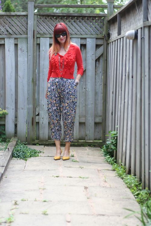 Daughters of the revolution harem pants anthropologie orange cardigan sweater suzanne carillo style files how to wear harem pants over 40