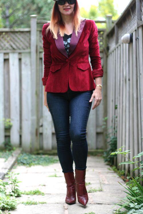 Red velvet tuxedo jacket suzanne carillo style files