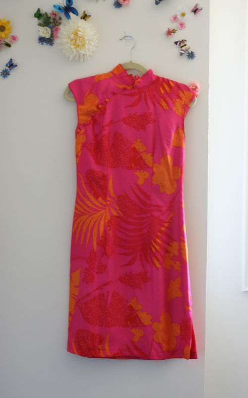 Js collections pink and orange asian style dress suzanne carillo style files