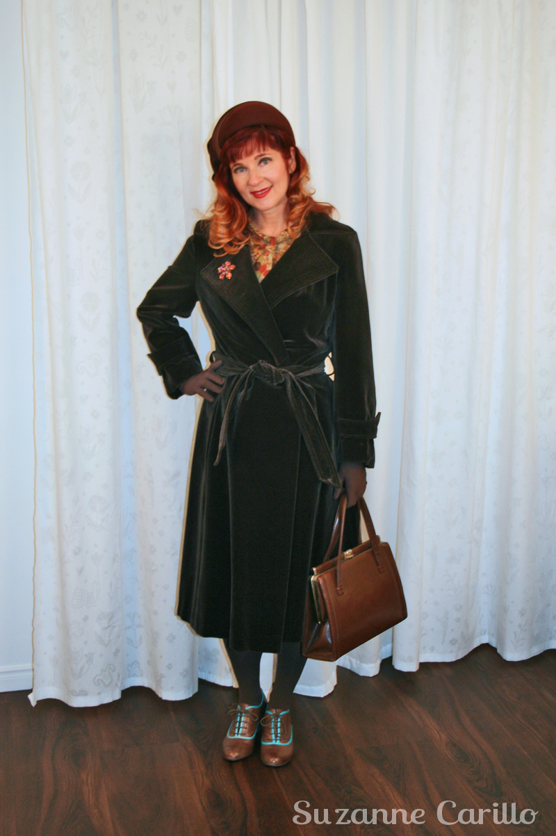 Vintage brown velvet coat 1940's style suzanne carillo