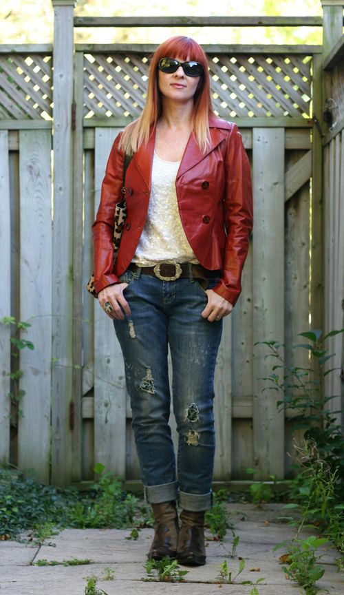 Rust leather jacket sequinned shell