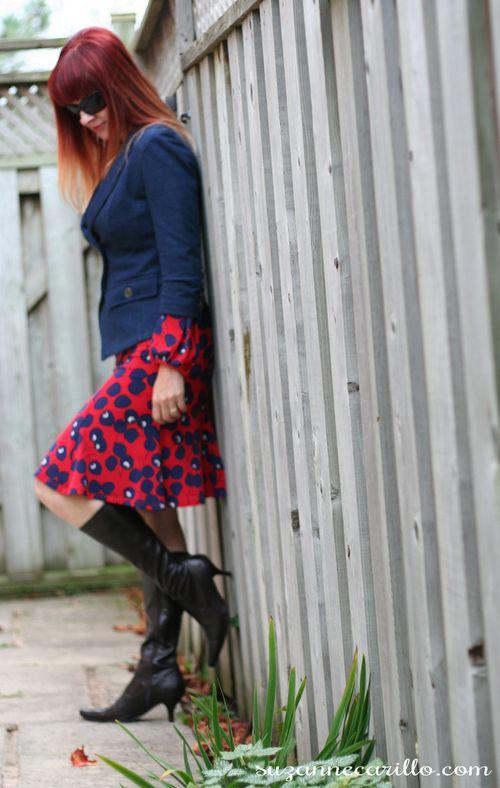 Cherry print dress nanette lapore le chateau blazer how to style consignment clothes suzanne carillo